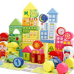City Traffic Wooden Building Blocks Stacking Set-100 Pieces- Basic Educational Build & Play Puzzle jigsaw Toys for Toddlers Preschool Age