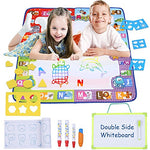 Smarkids Aqua Doodle Mat Water Drawing Learning Toys Big Size 30.7 X 30.7 Inch 7 Colors Writing Mats Toddler Painting Educational Toys with 1 Drawing Book, 1 Writing Board, 3 Water Drawing Pen