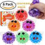 Ereon 6 Pack Stress Relief Ball - Squeeze Grape Ball Novelty Creative Crystal Balls Anti-Stress Relief Pressure Ball Fidget Toys Rubber Ball Non-Toxic Sensory Balls for Women Men Kids Sports Outdoor