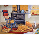 Bits and Pieces - 1000 Piece Jigsaw Puzzle for Adults - Harvest Kitchen - 1000 pc Dog and Cat in the Kitchen Jigsaw by Artist John Sloane