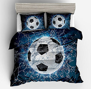 KTLRR 3D Soccer Football Duvet Cover Sets,Vivid Printed Boy Kids Sports Bedding Set Bedclothes 3Pcs with Pillow Shams 100% Polyester,No Comforter (Football, King 3pcs)