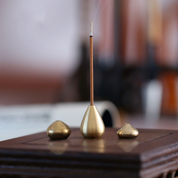 Lissom Brass Incense Stick Holder - Almond