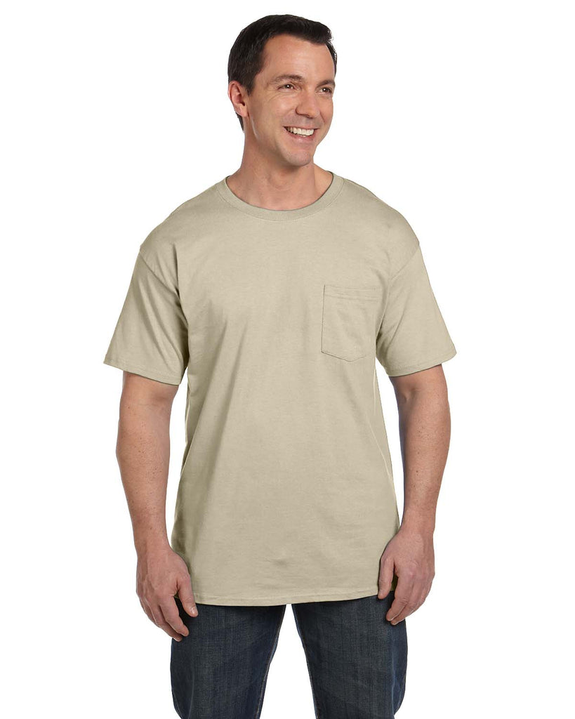 Hanes-5190P-Adult 6.1 oz. Beefy-T® with Pocket - WHITE - S