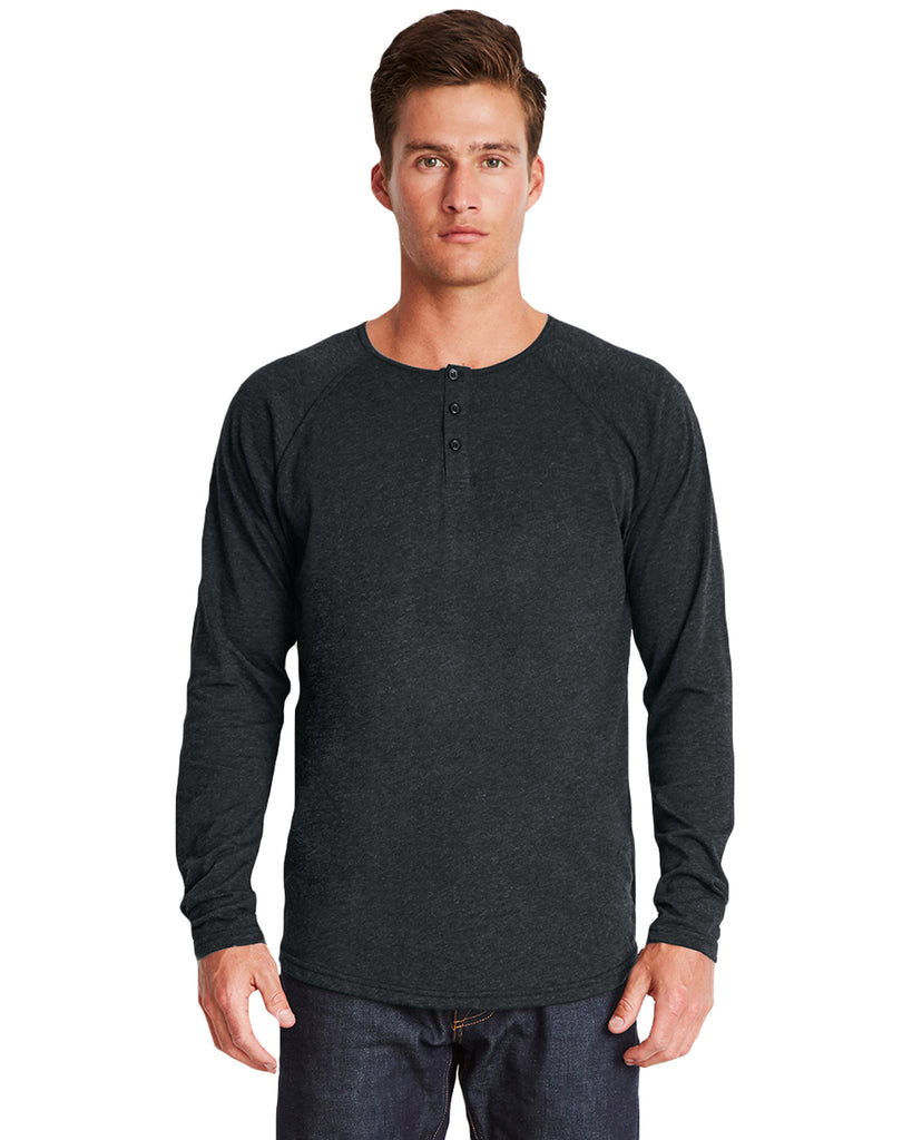 Next Level-6072-Men's Triblend Long-Sleeve Henley - HEATHER WHITE - S