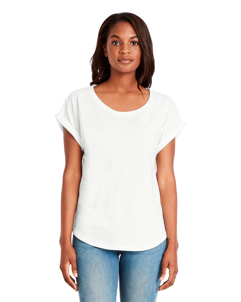 Next Level-6360-Ladies' Dolman with Rolled Sleeves - WHITE - XS