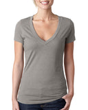 Next Level-6640-Ladies' CVC Deep V - DARK HTHR GRAY - S