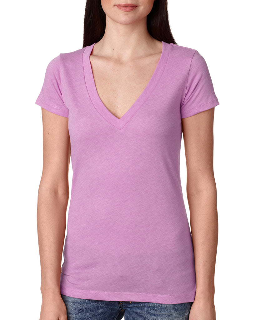 Next Level-6740-Ladies' Triblend Deep V - ENVY - S