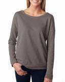 Next Level-6931-Ladies' French Terry Long-Sleeve Scoop - WHITE - S