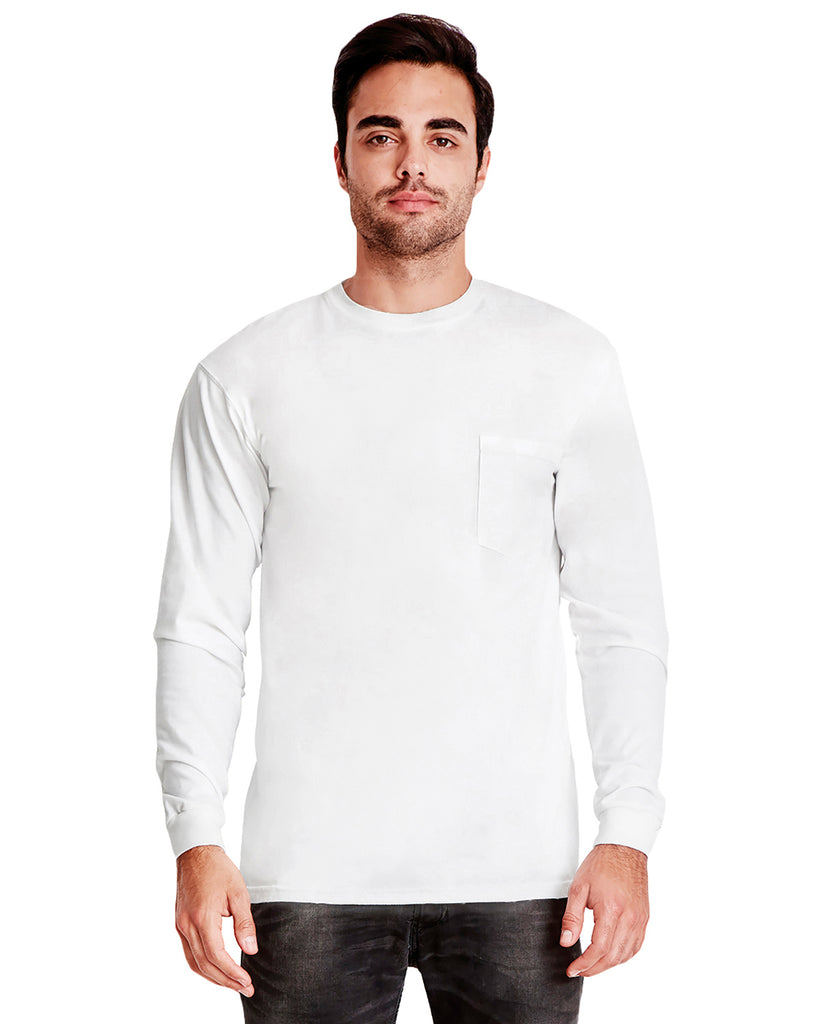 Next Level-7451S-Adult Power Pocket T-Shirt - WHITE - XS