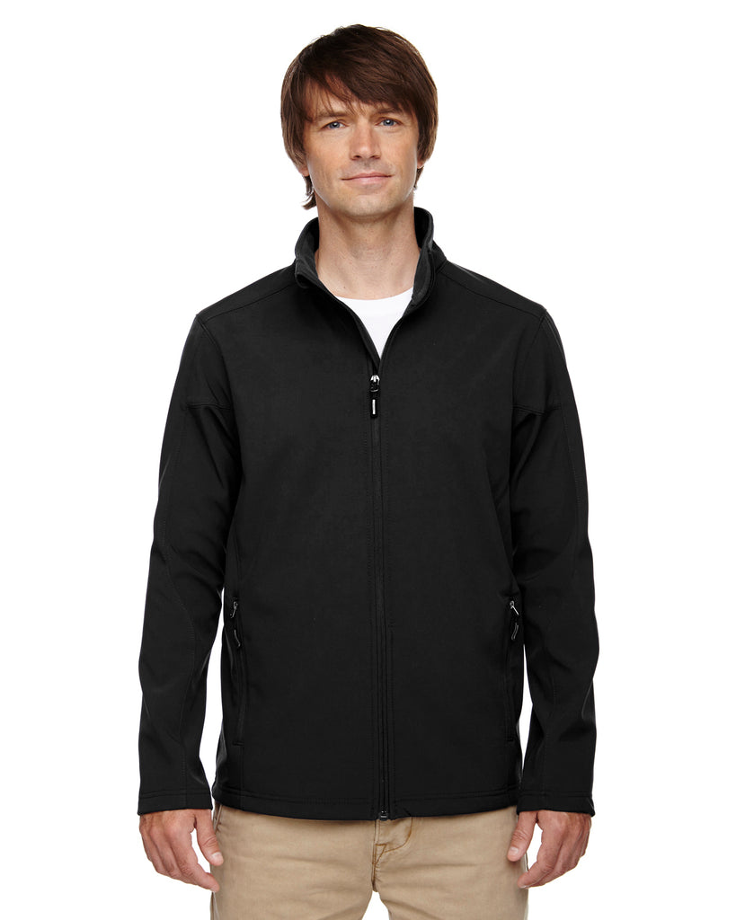 Ash City - Core 365-88184T-Men's Tall Cruise Two-Layer Fleece Bonded Soft Shell Jacket - BLACK - 2XT