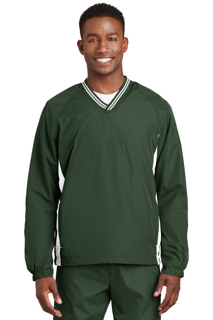 Sport-Tek Tipped V-Neck Raglan Wind Shirt. JST62