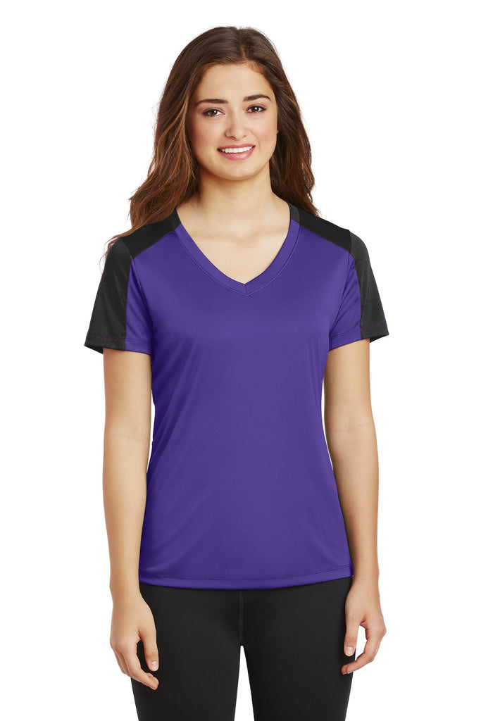 Sport-Tek Ladies PosiCharge Competitor Sleeve-Blocked V-Neck Tee. LST354