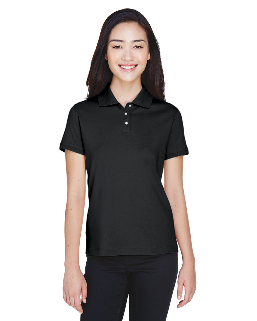 Devon & Jones-D140SW-Ladies' Solid Perfect Pima Interlock Polo - WHITE - S