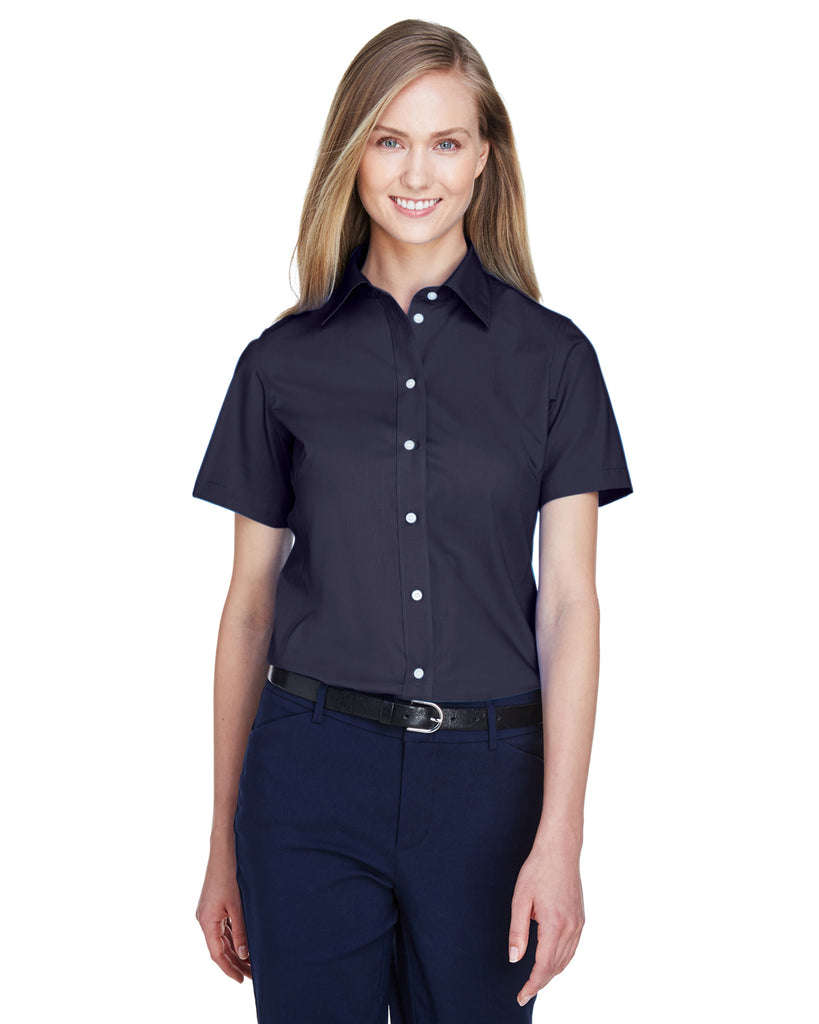 Devon & Jones-D620SW-Ladies' Crown Woven Collection™ Solid Broadcloth Short-Sleeve Shirt - BLACK - XS