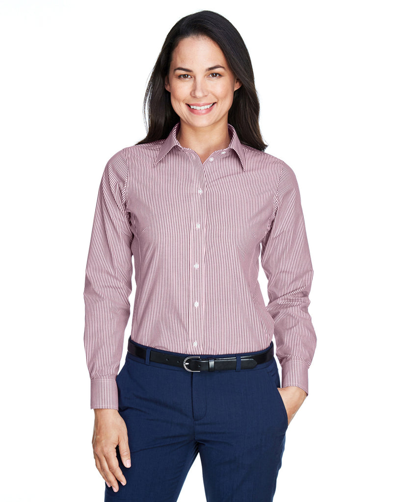Devon & Jones-D645W-Ladies' Crown Woven Collection™ Banker Stripe - PINK - S
