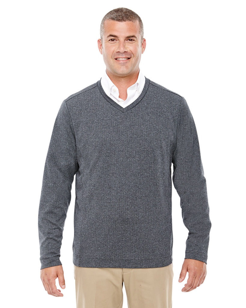 Devon & Jones-D884-Adult Fairfield Herringbone V-Neck Pullover - DK GREY HEATHER - S