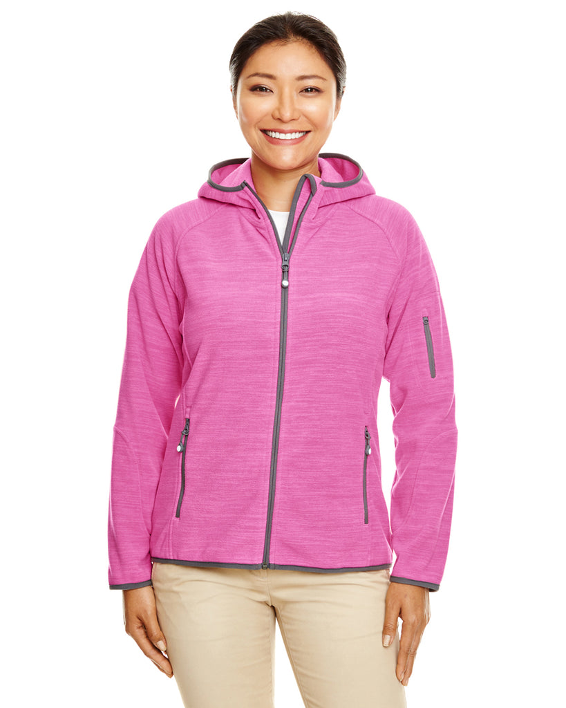 Devon & Jones-DP700W-Ladies' Perfect Fit™  Mélange Velvet Fleece Hooded Full-Zip