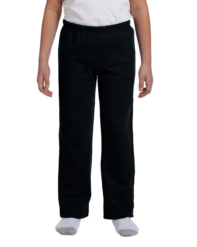 Gildan-G184B-Youth Heavy Blend™ 8 oz., 50/50 Open-Bottom Sweatpants - CHARCOAL - S