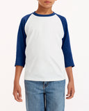 Gildan-G570B-Youth  Heavy Cotton™ 5.3 oz. 3/4-Raglan Sleeve T-Shirt - WHITE/ BLACK - XS