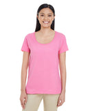 Gildan-G6455L-Ladies' Softstyle®  4.5 oz. Deep Scoop T-Shirt - WHITE - S