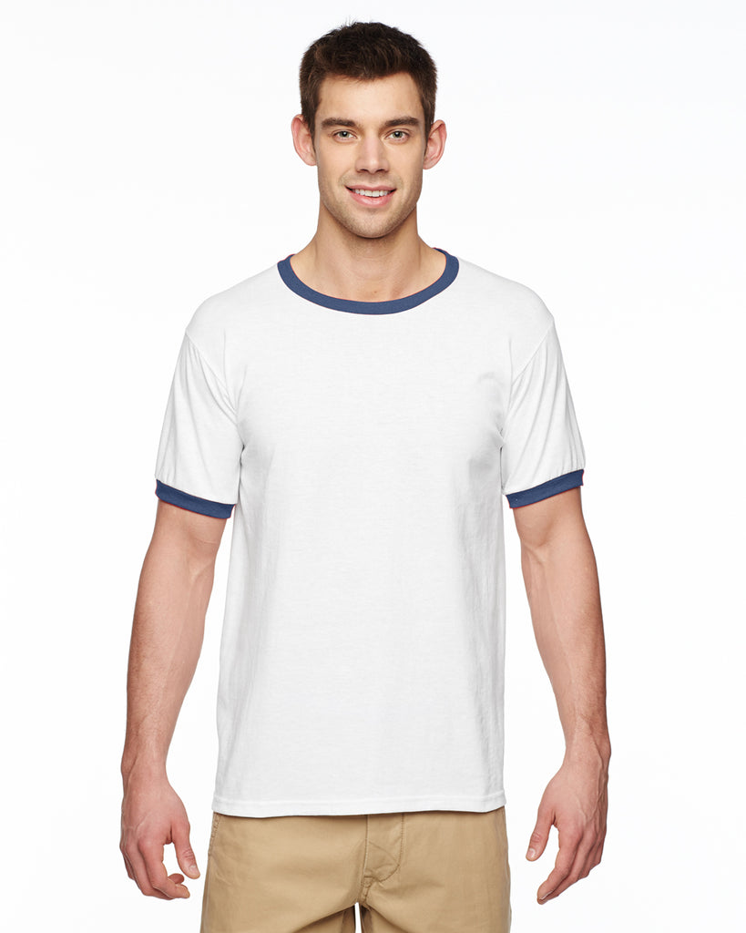 Gildan-G860-Adult 5.5 oz. Ringer T-Shirt - WHITE/ NAVY - S