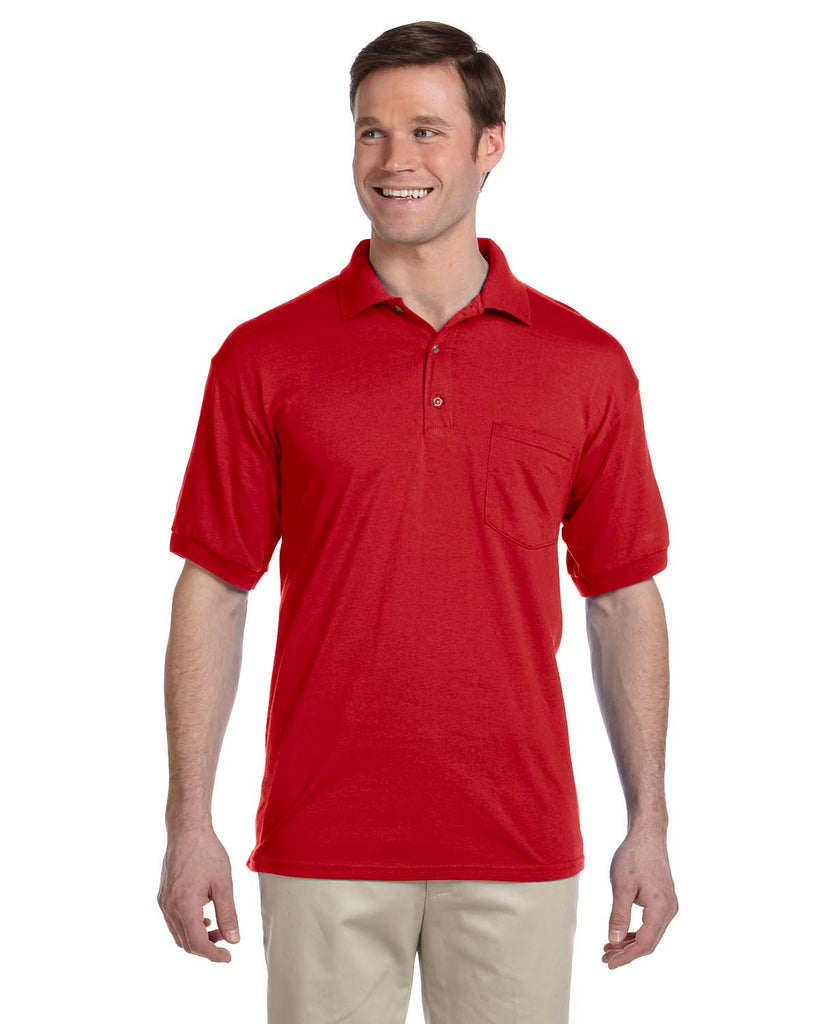 Gildan-G890-Adult 6 oz., 50/50 Jersey Polo with Pocket - WHITE - S
