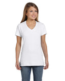 Hanes-S04V-Ladies' 4.5 oz., 100% Ringspun Cotton nano-T® V-Neck T-Shirt - WHITE - XS