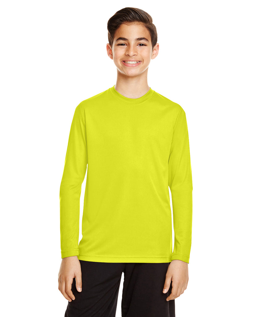 Team 365-TT11YL-Youth Zone Performance Long-Sleeve T-Shirt - SAFETY YELLOW - XS