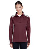 Team 365-TT26W-Ladies' Excel Mélange Interlock Performance Quarter-Zip Top - DK GREY HEATHER - XS