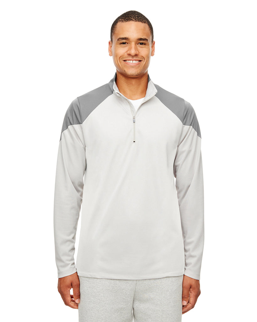 Team 365-TT27-Men's Command Colorblock Snag Protection Quarter-Zip - BLACK/ SPRT GRPH - XS