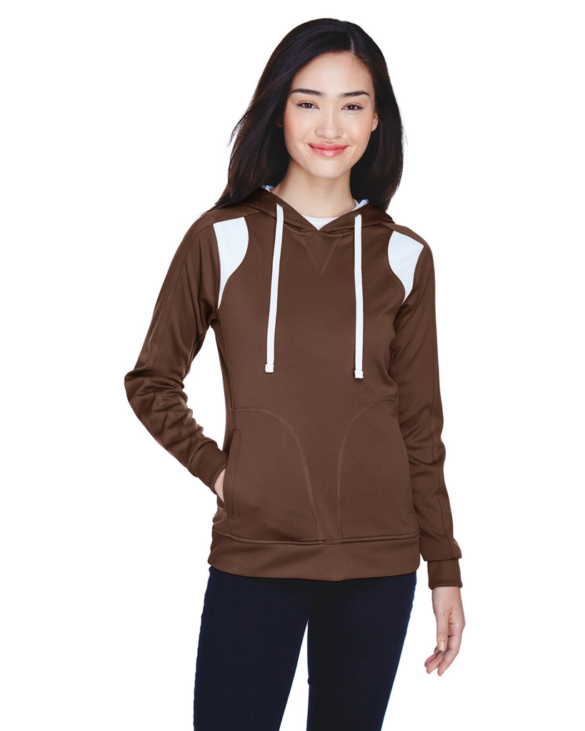 Team 365-TT30W-Ladies' Elite Performance Hoodie - SPORT DARK BROWN - XS