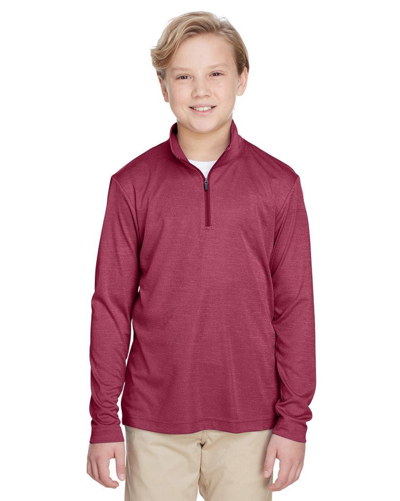 Team 365-TT31HY-Youth Zone Sonic Heather Performance Quarter-Zip - SP FOREST HTHR - S