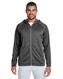 Team 365-TT38-Men's Excel Mélange Performance Fleece Jacket - D GRY HTH/ SP GR - XS