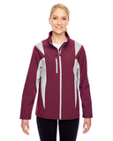 Team 365-TT82W-Ladies' Icon Colorblock Soft Shell Jacket - BLACK/ SP SILVER - XS
