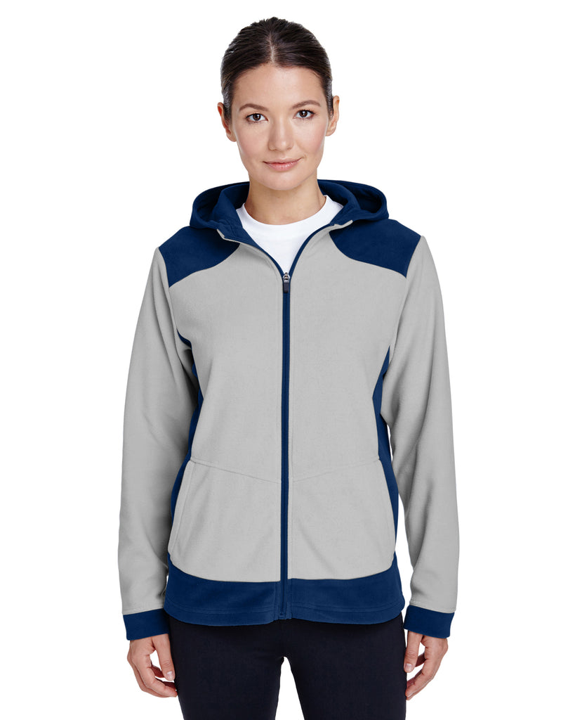 Team 365-TT94W-Ladies' Rally Colorblock Microfleece Jacket - BLACK/ SP SILVER - XS