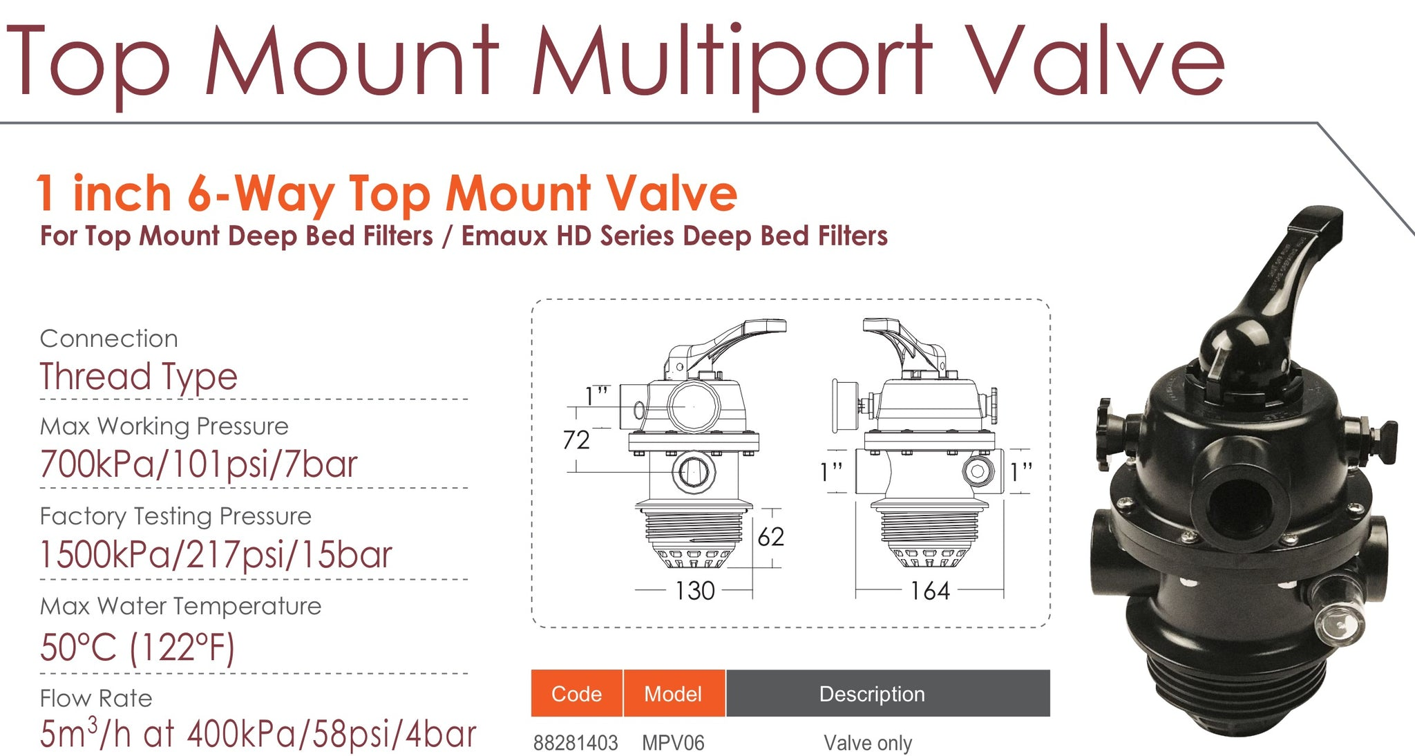 Emaux MPV Top Mount Multiport Valve (BLACK)