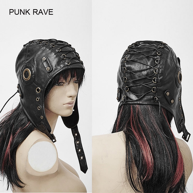 3537eb7c1 Punk Rave Fashion Leather Black Cosplay Caps Hats Steampunk Military ...