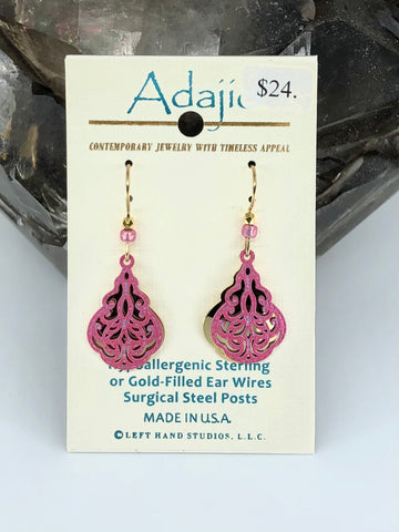 Adajio Earrings-Pink overlay over brass design