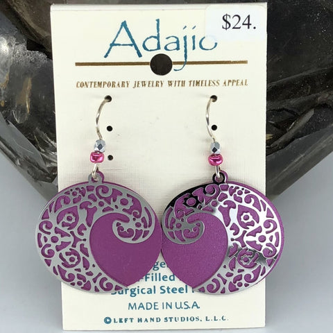 Adajio Earings-Pink rounds with silver tone wave overlay