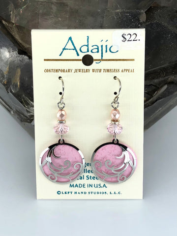 Adajio Earrings-Light pink round with silver tone overlay