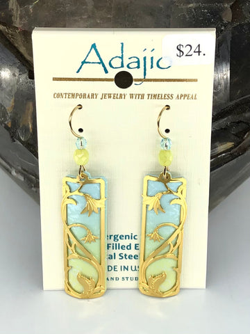 Adajio Earrings- light blue to green transistion with bass flower overlay