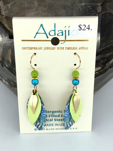 Adajio Earrings-Multi layer folded leaf shapes with brass and beads