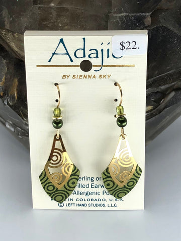 Adajio Earrings-Green with brass cutouts