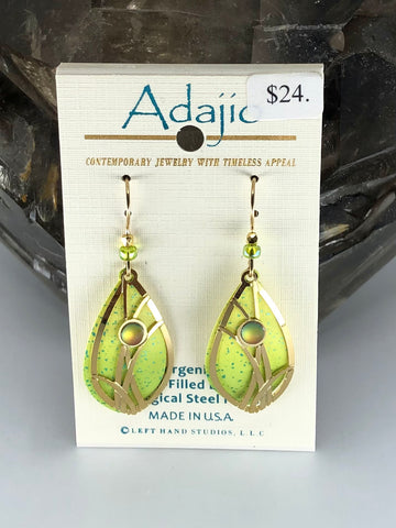 Adajio Earrings-Light green with brass cutout and beads