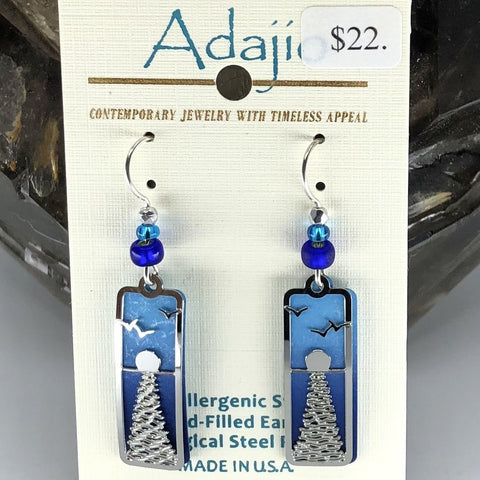 Adajio Earrings- Blue rectangle with silver tone ocean overlay