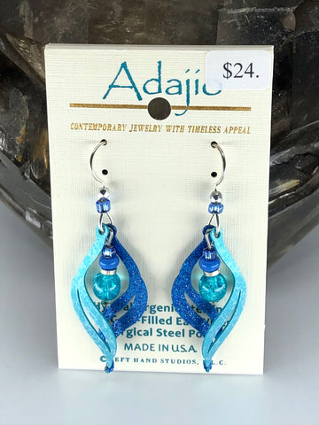 Adajio Earrings-Blue swirl with silver and bead accents