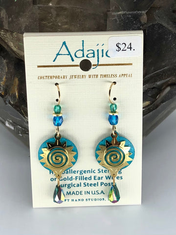 Adajio Earrings-Blue rounds with brass sun overlay
