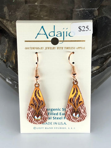 Adajio Earrings- Red and white teardrop with brass overlay