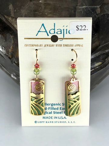 Adajio Earrings-Green/Pink transition with brass overlay