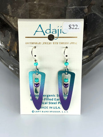 Adajio Earrings-Blue/Purple cutout with beads